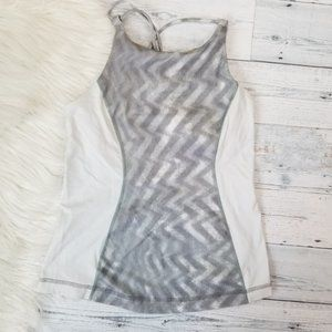 •Lululemon• Gray White Strappy Back Tank Top